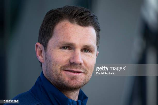Patrick Dangerfield of the Cats speaks to media during a Geelong Cats AFL Training Session at GMHBA Stadium on June 11, 2020 in Geelong, Australia.