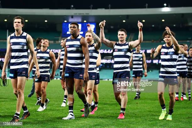 Patrick Dangerfield of the Cats thanks fans after winning the round 6 AFL match between the Geelong Cats and the Brisbane Lions at Sydney Cricket...