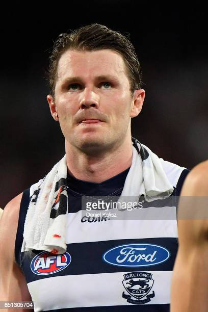 Patrick Dangerfield of the Cats walks from the field at half time during the First AFL Preliminary Final match between the Adelaide Crows and the...