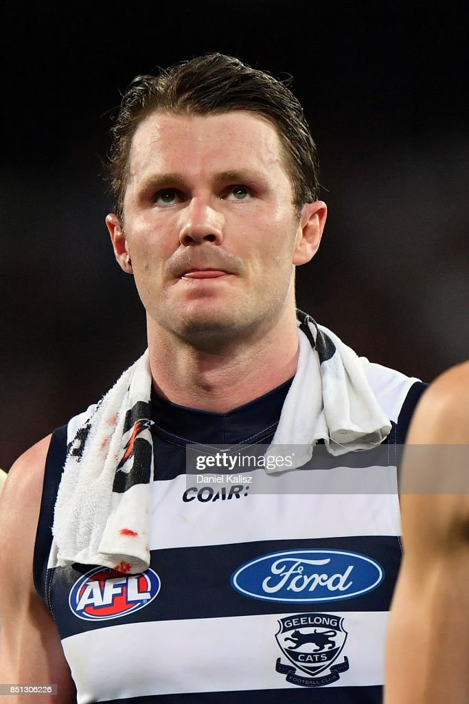 Patrick Dangerfield of the Cats walks from the field at half time during the First AFL Preliminary Final match between the Adelaide Crows and the Geelong Cats at Adelaide Oval on September 22, 2017 in Adelaide, Australia.