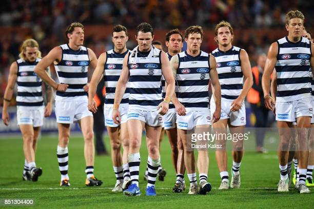Patrick Dangerfield of the Cats walks from the field looking dejected at half time during the First AFL Preliminary Final match between the Adelaide...