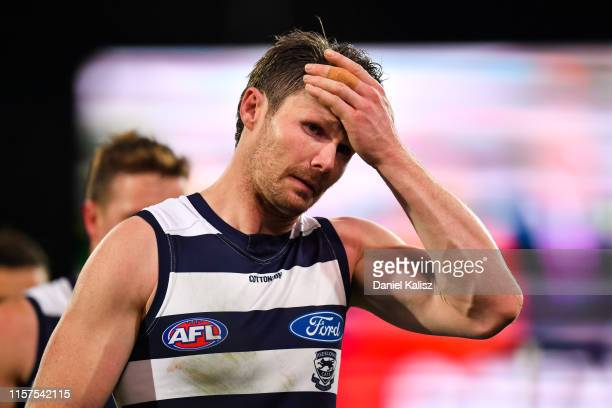 Patrick Dangerfield of the Cats walks from the ground at half time during the round 14 AFL match between the Port Adelaide Power and the Geelong Cats...