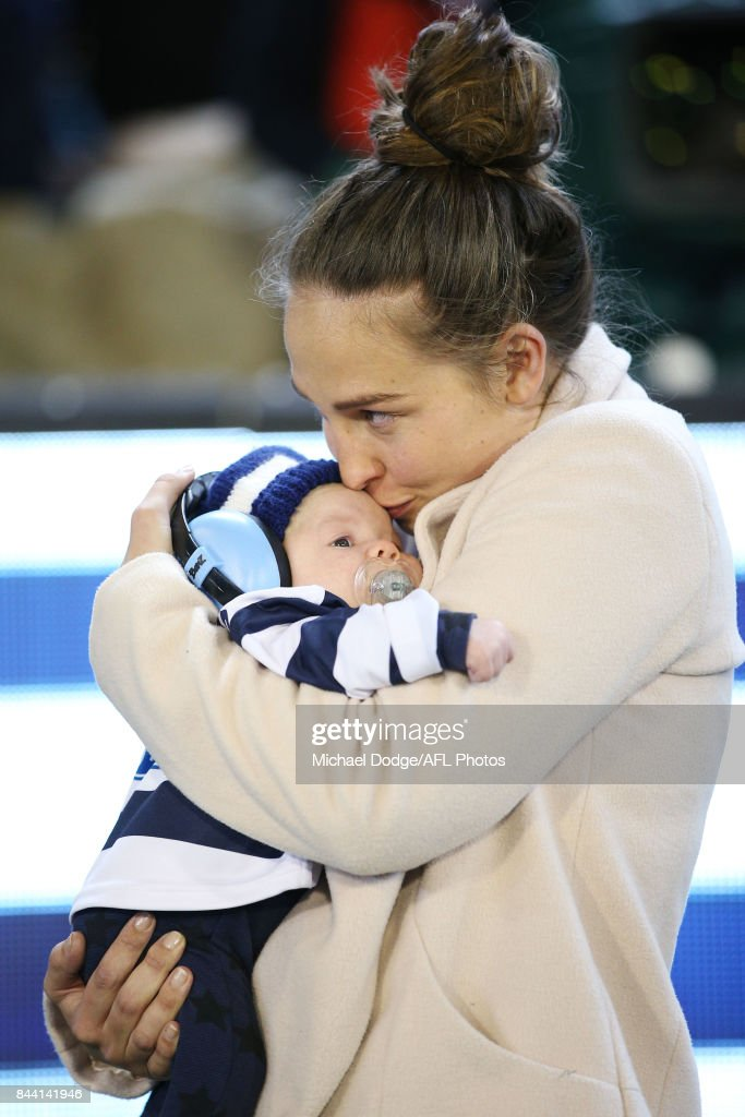 Patrick Dangerfield of the Cats wife Mardi and baby George are seen during the AFL Second Qualifying Final Match between the Geelong Cats and the Richmond Tigers at Melbourne Cricket Ground on September 8, 2017 in Melbourne, Australia.