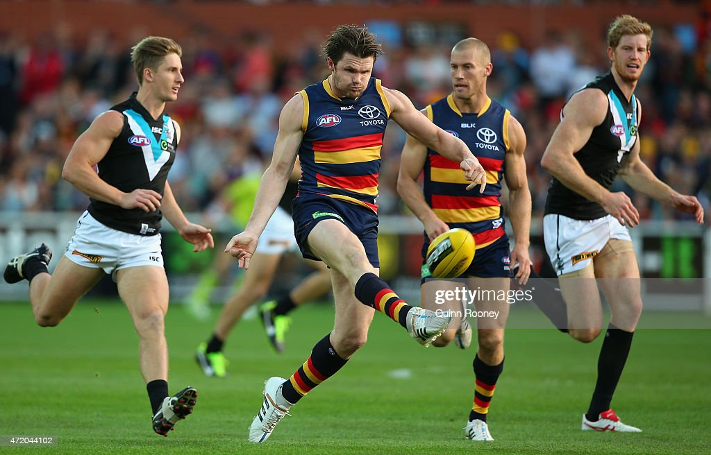 Patrick Dangerfield of the Crows kicks during the round five AFL match between the Adelaide Crows and the Port Adelaide Power at Adelaide Oval on May 3, 2015 in Adelaide, Australia.