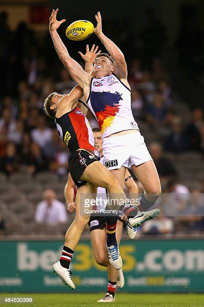 Patrick Dangerfield of the Crows marks during the round four AFL match between the St Kilda Saints and the Adelaide Crows at Etihad Stadium on April...