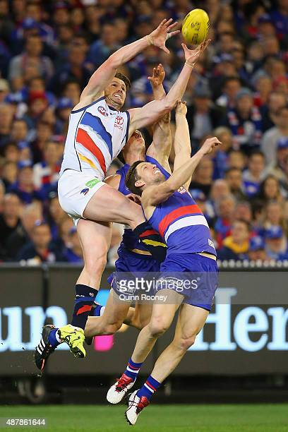 Patrick Dangerfield of the Crows marks over the top of Matthew Boyd of the Bulldogs during the AFL Second Elimination Final match between the Western...