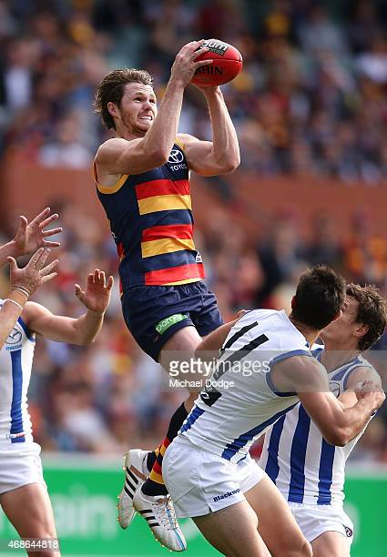 Patrick Dangerfield of the Crows marks the ball during the round one AFL match between the Adelaide Crows and the North Melbourne Kangaroos at...