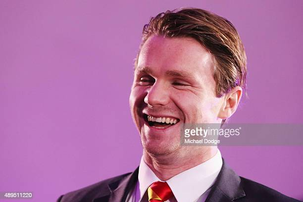 Patrick Dangerfield of the Crows reacts during the 2015 All Australian Announcement at Royal Exhibition Buildings on September 22 2015 in Melbourne...