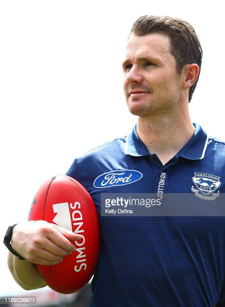 Patrick Dangerfield poses for a portrait during a Geelong Cats AFL media opportunity at GMHBA Stadium on November 22, 2019 in Geelong, Australia.
