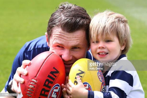 Patrick Dangerfield poses with son George during a Geelong Cats AFL media opportunity at GMHBA Stadium on November 22, 2019 in Geelong, Australia.