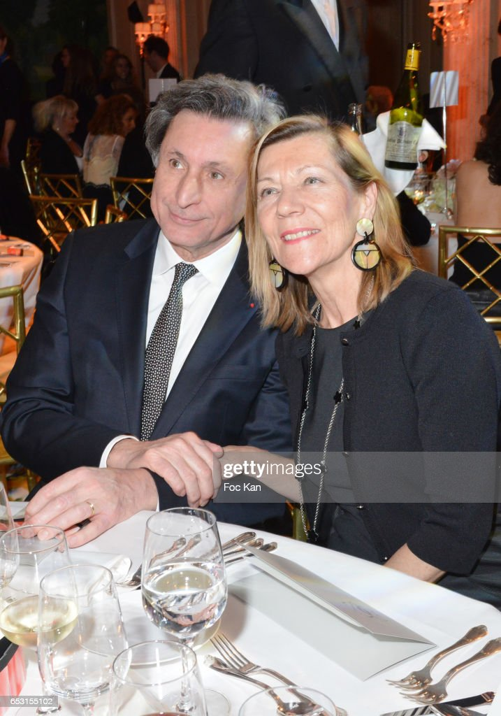 Patrick de Carolis and Carol-Anne Hartpence attend 'La Recherche en Physiologie' Charity Gala (Les Stethos D'Or La Soiree Des Stars) at Four Seasons Hotel George V on March 13, 2017 in Paris, France.