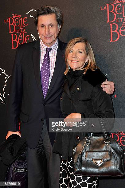 Patrick De Carolis and CarolAnne Hartpence attend the 'Beauty and the Beast' Paris Premiere at Theatre Mogador on October 24 2013 in Paris France
