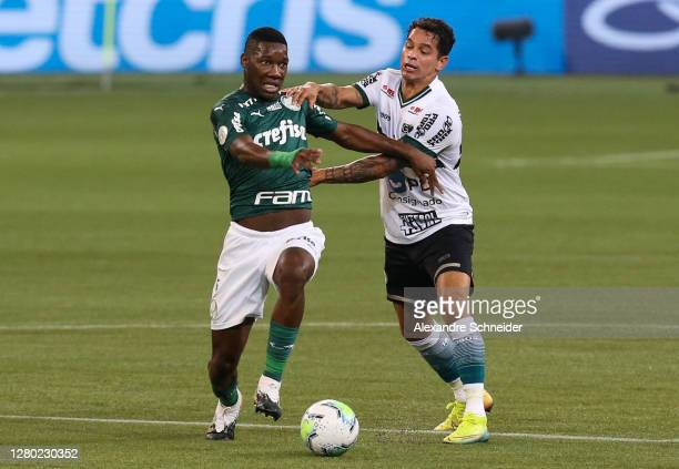 Patrick de Paula of Palmeiras and Giovanni Augusto of Coritiba fight for the ball during the match as part of Brasileirao Series A 2020 at Allianz...