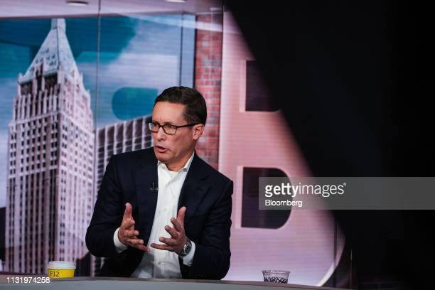 Patrick Decker president and chief executive officer of Xylem Inc speaks during a Bloomberg Television interview in New York US on Friday March 22...