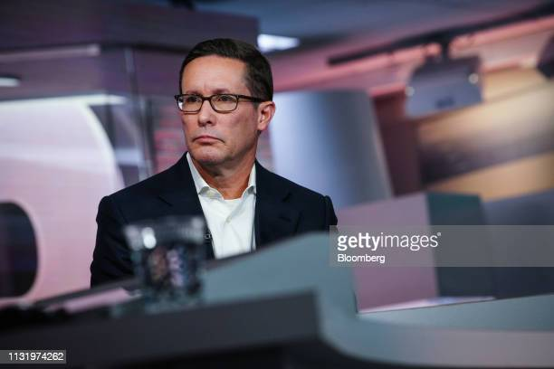 Patrick Decker president and chief executive officer of Xylem Inc listens during a Bloomberg Television interview in New York US on Friday March 22...