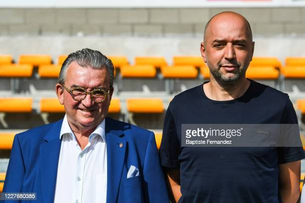 Patrick DECLERCK president of Mouscron and Gerard LOPEZ president of Lille during a press conference ahead of the preseason soccer friendly match...