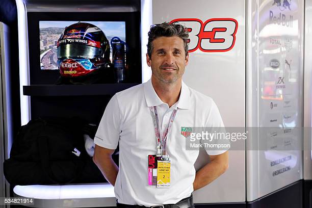 Patrick Dempsey actor in the Red Bull Racing garage during qualifying for the Monaco Formula One Grand Prix at Circuit de Monaco on May 28 2016 in...