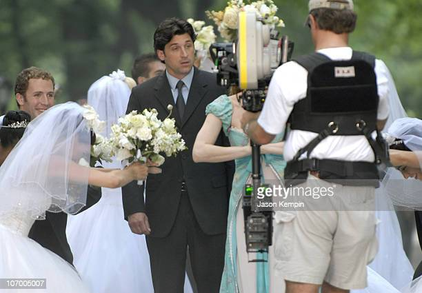 Patrick Dempsey and Amy Adams during Patrick Dempsey Amy Adams and Jeff Watson on the Set of Disney's Enchanted July 10 2006 at Central Park in New...