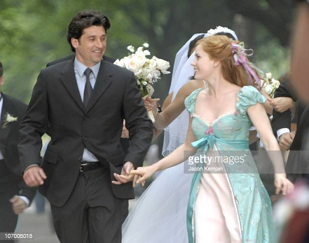 "Patrick Dempsey and Amy Adams during Patrick Dempsey, Amy Adams and Jeff Watson on the Set of Disney's ""Enchanted"" - July 10, 2006 at Central Park in..."