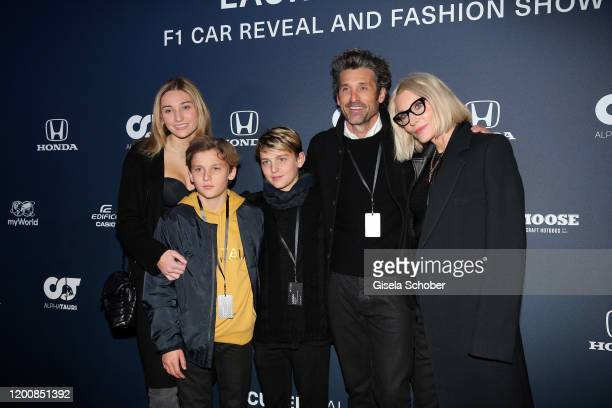 Patrick Dempsey and his wife Jillian Fink, daughter Talula, son Darby and son Sullivan during the Scuderia AlphaTauri launch event at Hangar 7 on...