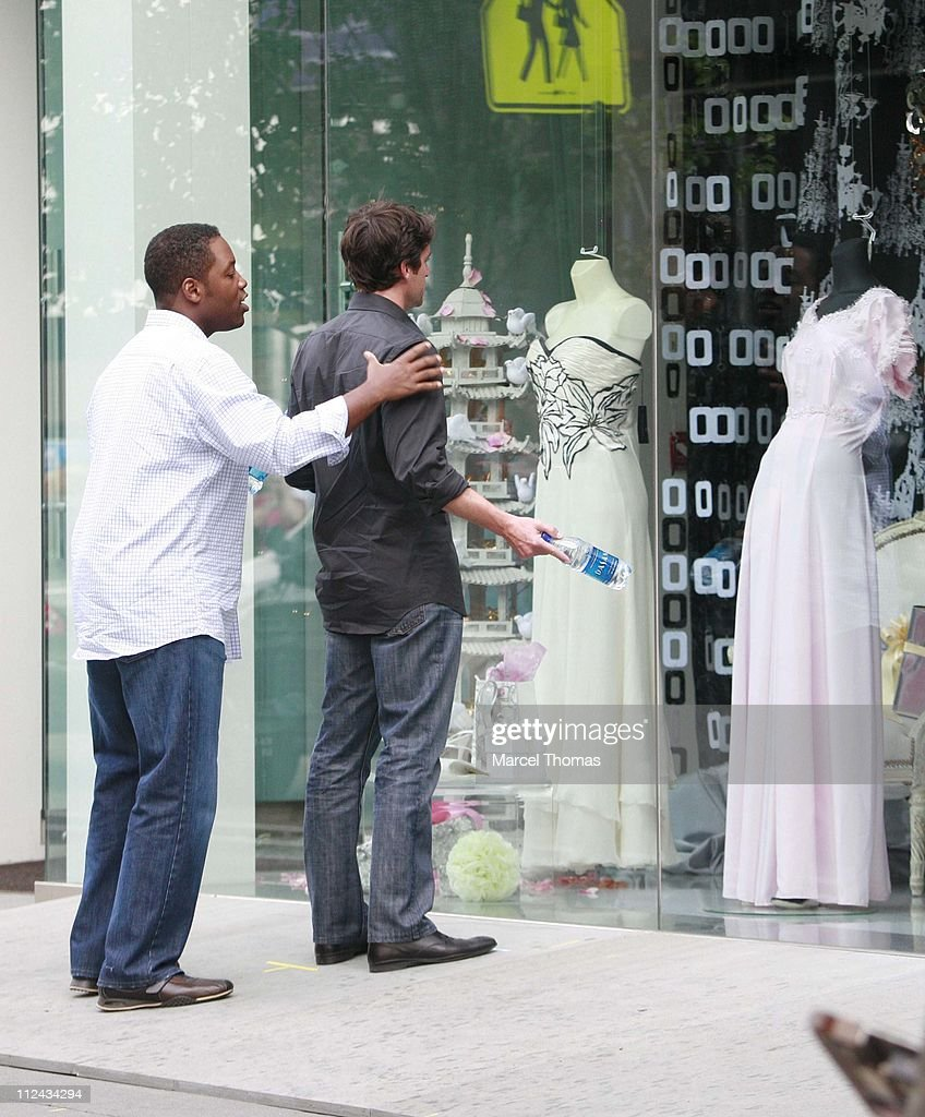 "Patrick Dempsey and Kadeem Hardison On Location Filming ""Made of Honor"" - June 10, 2007 : News Photo"