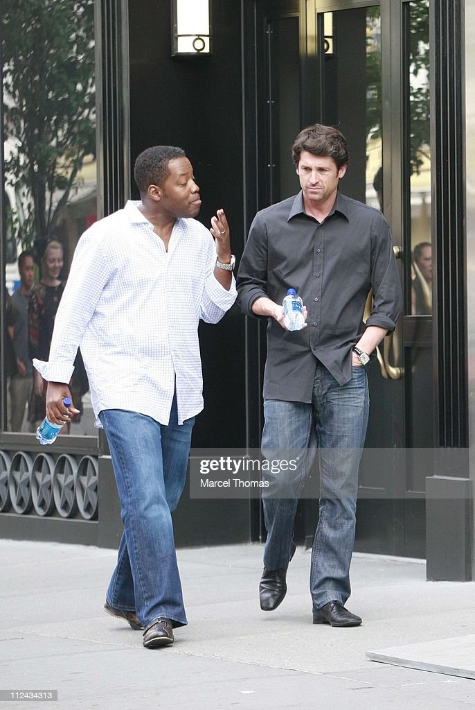 "Patrick Dempsey and Kadeem Hardison On Location Filming ""Made of Honor"" - June 10, 2007 : News Photo"