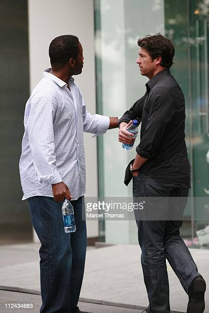 Patrick Dempsey and Kadeem Hardison during Patrick Dempsey and Kadeem Hardison On Location Filming Made of Honor June 10 2007 at On Location in New...
