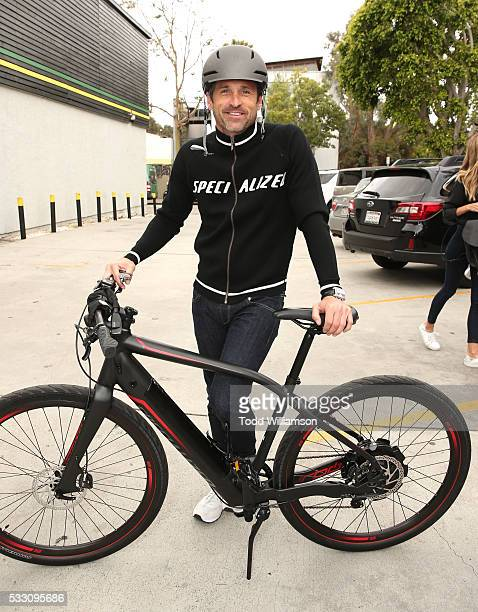 Patrick Dempsey bikes for The Hollywood Reporter Partication in National Bike To Work Month on May 20 2016 in Santa Monica California