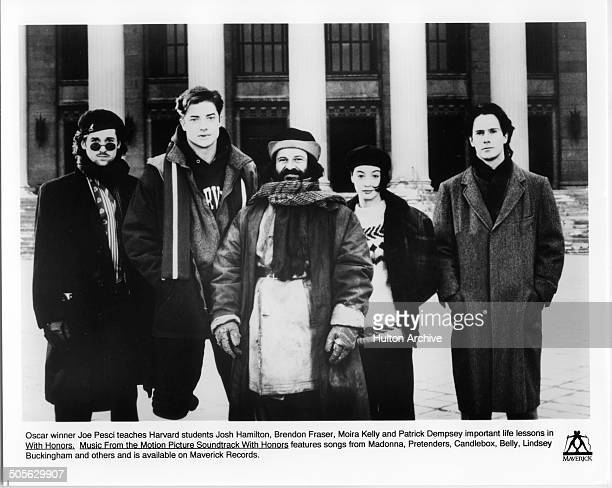 Patrick Dempsey Brendan Fraser Joe Pesci and Moira Kelly and Josh Hamilton pose for the Warner Bros movie 'With Honors' circa 1994
