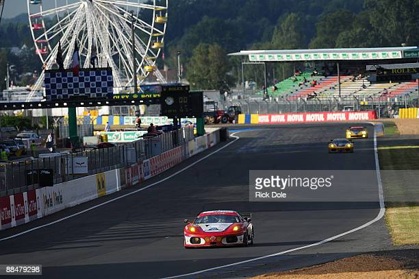 Patrick Dempsey driving the Team Advanced Engineering/Team Seattle Ferrari 430 GT during the 77th running of the Le Mans 24 Hour race at the Circuit...