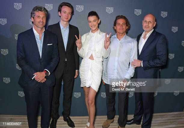 Patrick Dempsey Frederic Arnault TAG Heuer Chief Stategy and Digital Officer Bella Hadid Kai Lenny and Stephane Bianchi CEO of the LVMH Watchmaking...