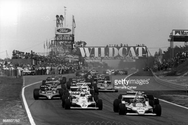 Patrick Depailler Alan Jones LigierFord JS11 WilliamsFord FW07 Grand Prix of Belgium Circuit Zolder 13 May 1979 Patrick Depailler leads Alan Jones at...