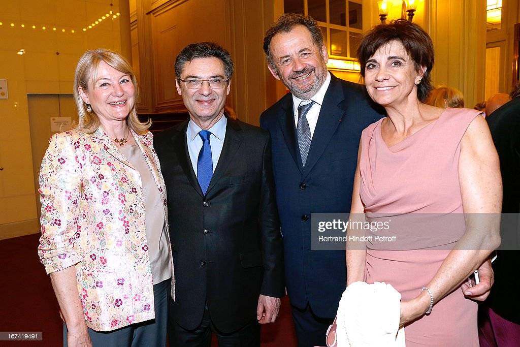 Patrick Devedjian and wife Christine (L) with Guillaume Sarkozy and wife Sophie (R) attend Salle Gaveau 105th Anniversary on April 24, 2013 in Paris, France.