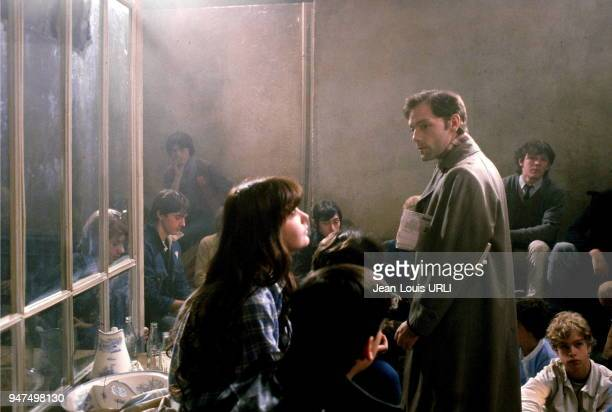 Patrick Dewaere and Arielle Besse on the set of ' Beaupère ' by Bertrand Blier 1981