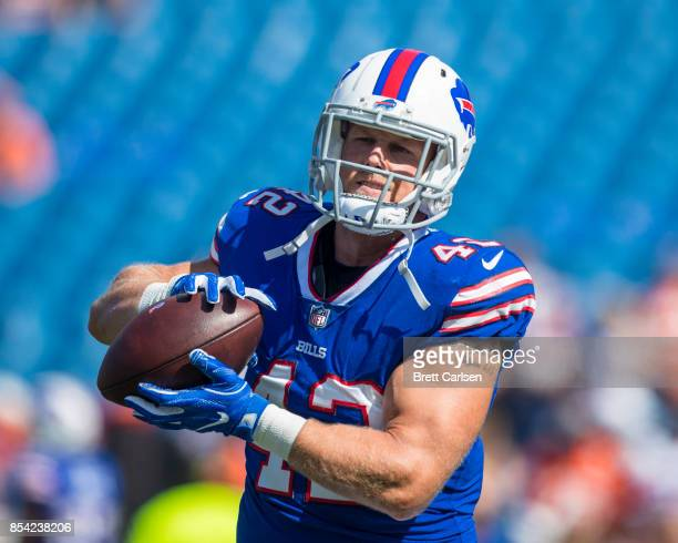Patrick DiMarco of the Buffalo Bills catches a pass during warm ups before the game against the Denver Broncos on September 24 2017 at New Era Field...