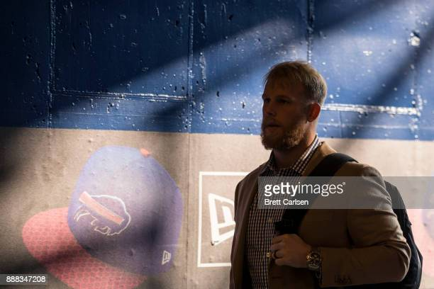 Patrick DiMarco of the Buffalo Bills enters the stadium before the game against the New England Patriots at New Era Field on December 3 2017 in...