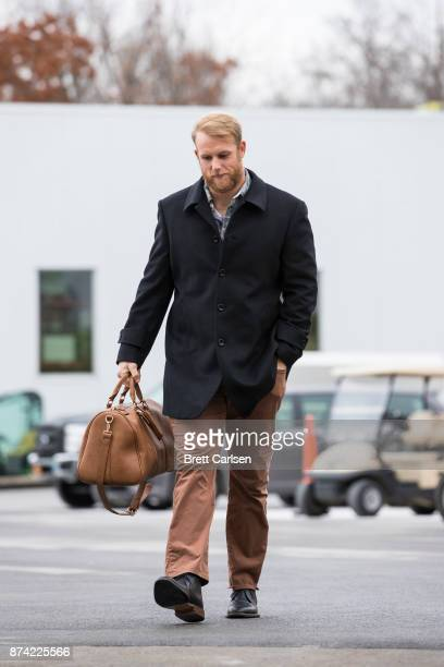 Patrick DiMarco of the Buffalo Bills walks into New Era Field before the game between the Buffalo Bills and the New Orleans Saints on November 12...