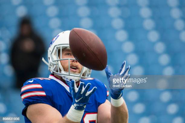 Patrick DiMarco of the Buffalo Bills warms up before the game against the Miami Dolphins at New Era Field on December 17 2017 in Orchard Park New...