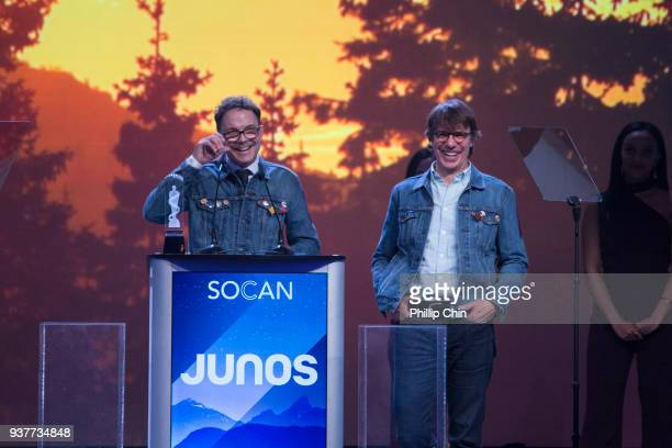 Patrick Downie and Mike Downie accept the award for Gord Downie at the Juno Gala Dinner and Awards at the Vancouver Convention Centre on March 24...