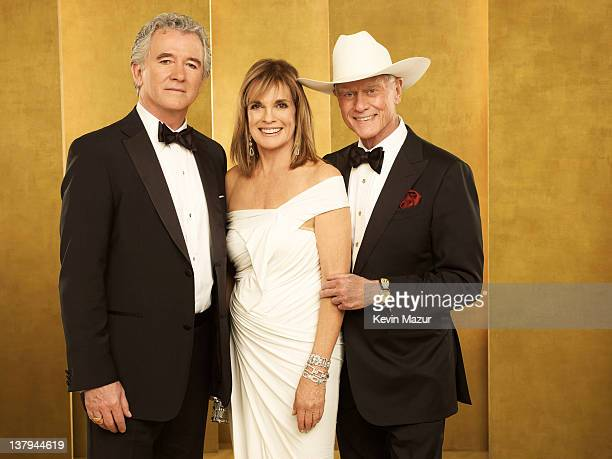 Patrick Duffy Linda Gray and Larry Hagman pose during The 18th Annual Screen Actors Guild Awards broadcast on TNT/TBS at The Shrine Auditorium on...
