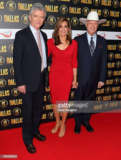 Patrick Duffy Linda Grey and Larry Hagman attend a party to celebrate the new Channel 5 television series of 'Dallas' at Old Billingsgate on August...