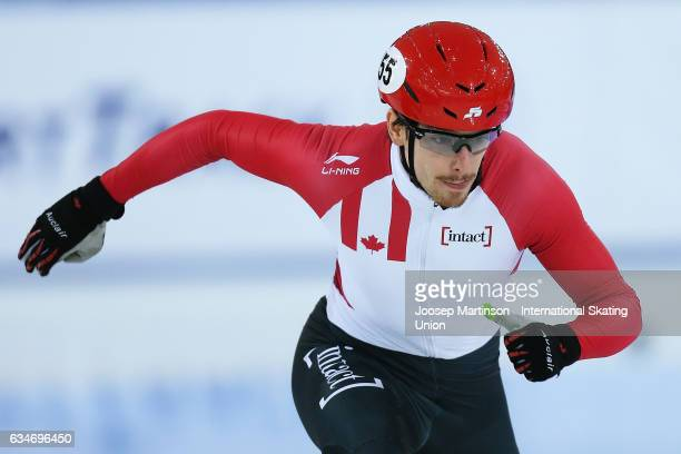 Patrick Duffy of Canada competes in the Men's 1000m quarter final during day one of the ISU World Cup Short Track at Minsk Arena on February 11 2017...