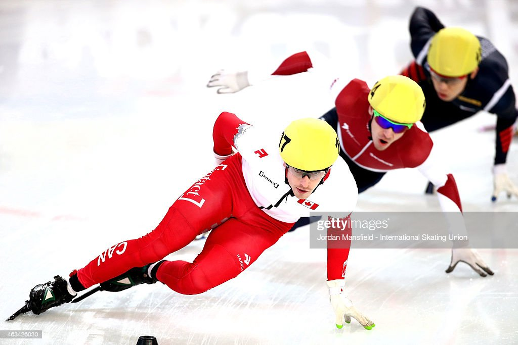 Patrick Duffy of Canada leads the pack into the corner during the Men's 1500m semi-finals on day one of the ISU World Cup Short Track Speed Skating on February 14, 2015 in Erzurum, Turkey.
