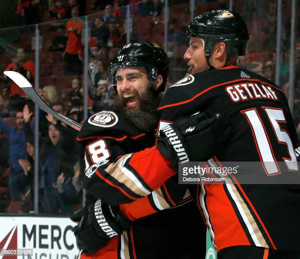 Patrick Eaves and Ryan Getzlaf of the Anaheim Ducks celebrate Eaves' goal in the third period against the New York Islanders on October 11 2017 at...