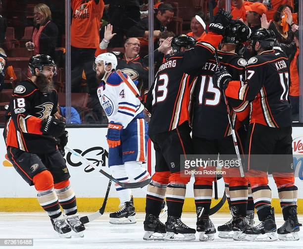 Patrick Eaves of the Anaheim Ducks celebrates a goal with his teammates against the Edmonton Oilers in Game One of the Western Conference Second...