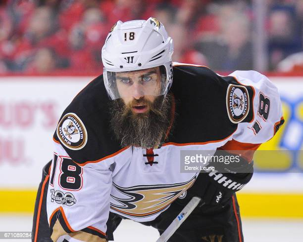 Patrick Eaves of the Anaheim Ducks in action against the Calgary Flames in Game Three of the Western Conference First Round during the 2017 NHL...