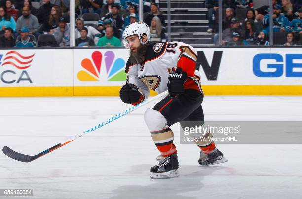 Patrick Eaves of the Anaheim Ducks skates against the San Jose Sharks at SAP Center on March 18 2017 in San Jose California