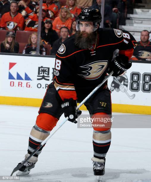Patrick Eaves of the Anaheim Ducks skates during the game against the Edmonton Oilers in Game Two of the Western Conference Second Round during the...