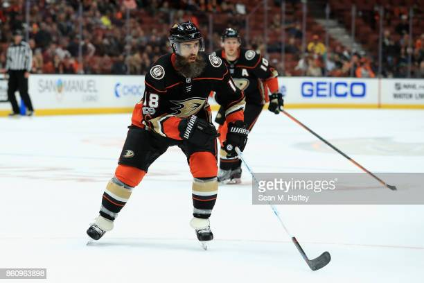 Patrick Eaves of the Anaheim Ducks skates to the puck uring the third period of a game against the New York Islanders at Honda Center on October 11...