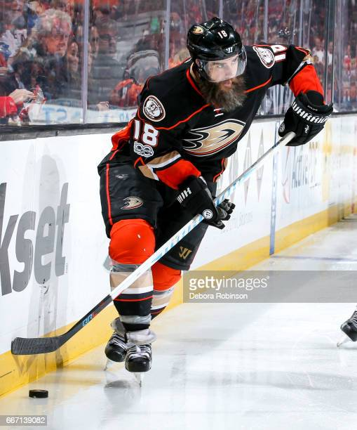Patrick Eaves of the Anaheim Ducks skates with the puck during the third period of the game against the Chicago Blackhawks at Honda Center on April 6...
